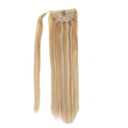 Balayage Piano Mixed Color Real Human Hair Straight Clip In Long Ponytail Hair Extention Wrap Around Sleek High Ponytail With Weave