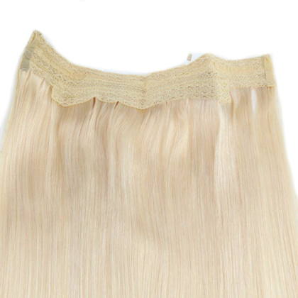 Real Human Hair One Piece Halo Hair Extensions Invisible Secret Flip In Halo Weave For Thin Hair