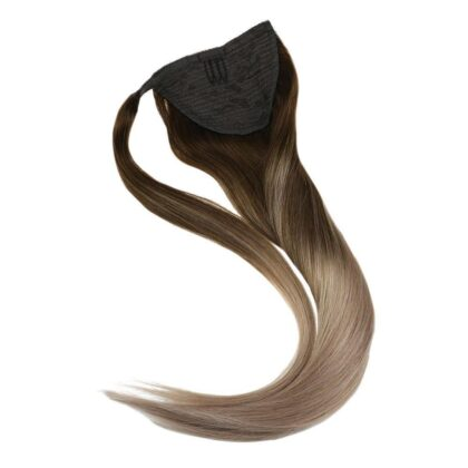 Ombre Real Human Hair Straight Clip In Long Ponytail Hair Extention Wrap Around High Sleek Ponytail With Weave
